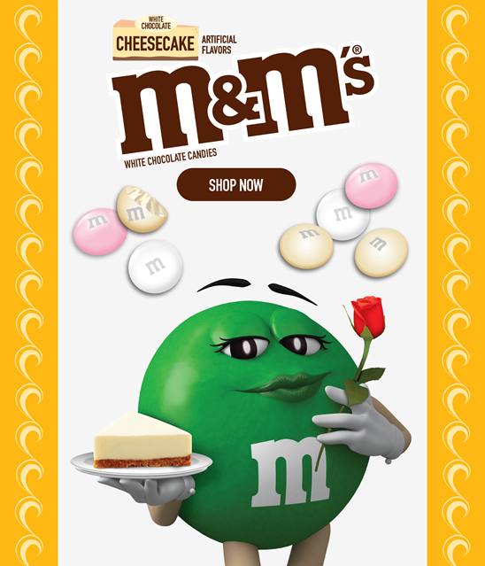 Click this banner to shop our White Cheesecake M and Ms