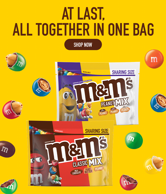 Click this banner to shop our M and M Mix products
